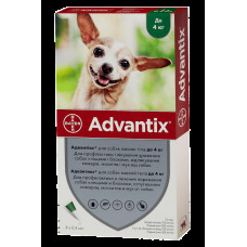 Bayer Advantix для собак вес до 4 кг 1пипетка 0,4мл1