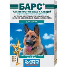 Барс краплі проти бліх та кліщів для собак 4 піпетки1