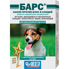 Барс краплі проти бліх та кліщів для собак вагою від 2 до 10 кг (1 піпетка)1