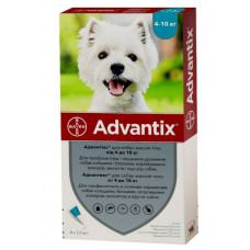 Bayer Advantix для собак вес 4-10 кг 1пипетка 1мл1